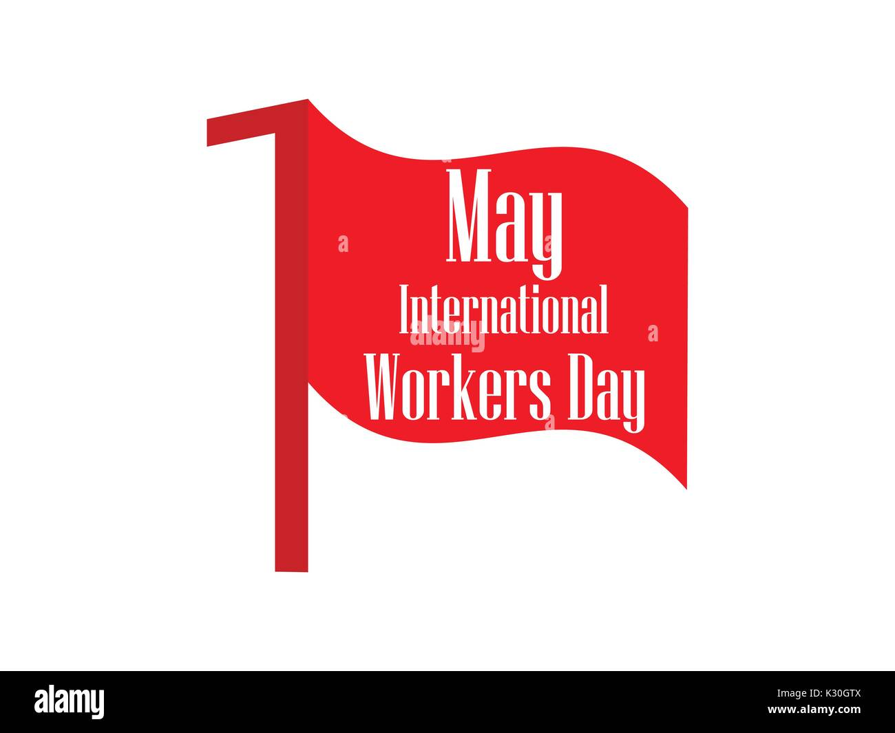 International Workers Day. Labour Day 1st of May. Red flag. Vector illustration - Stock Vector