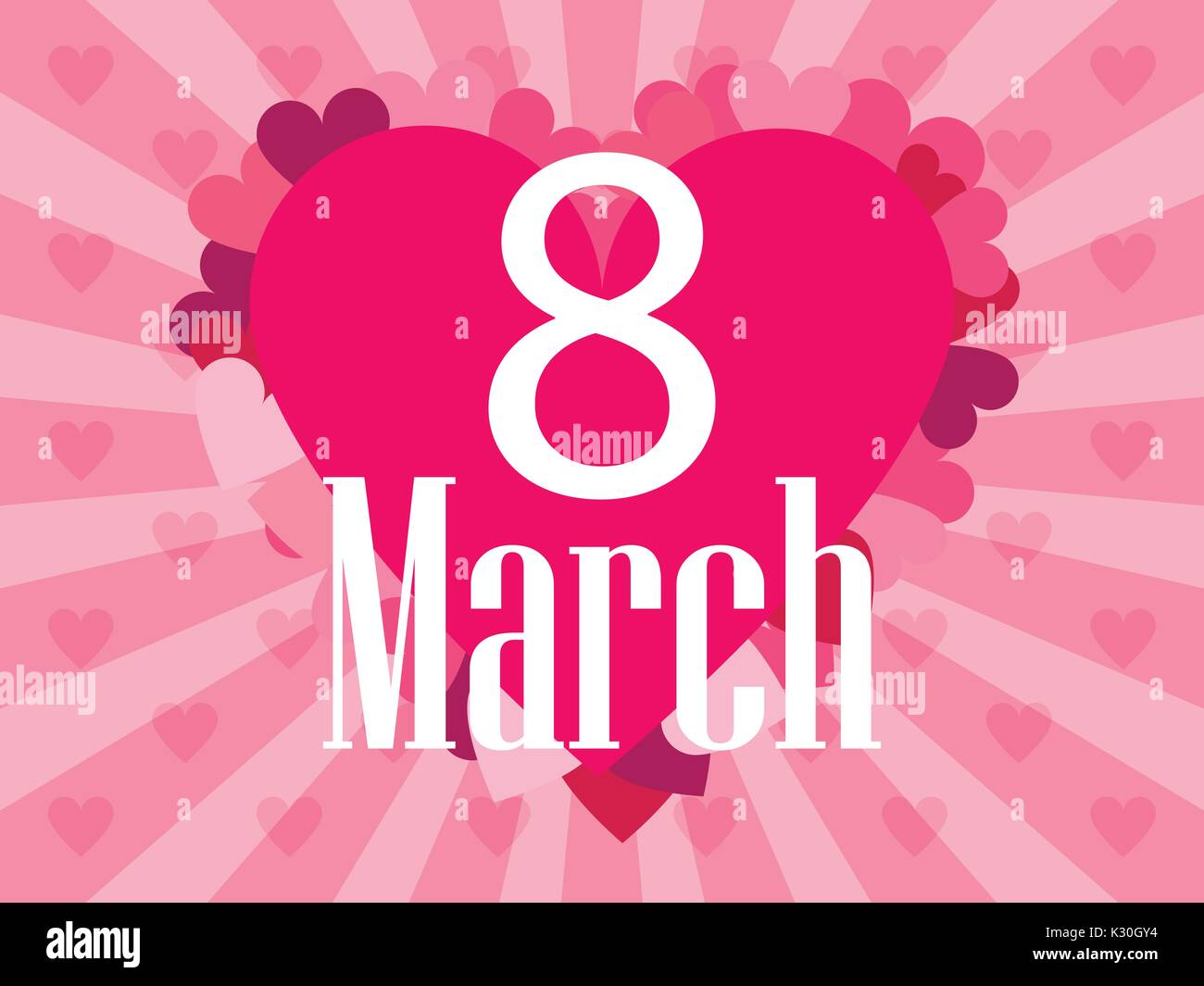 8 March day. International Women's day. Background with rays and heart. Vector illustration - Stock Vector