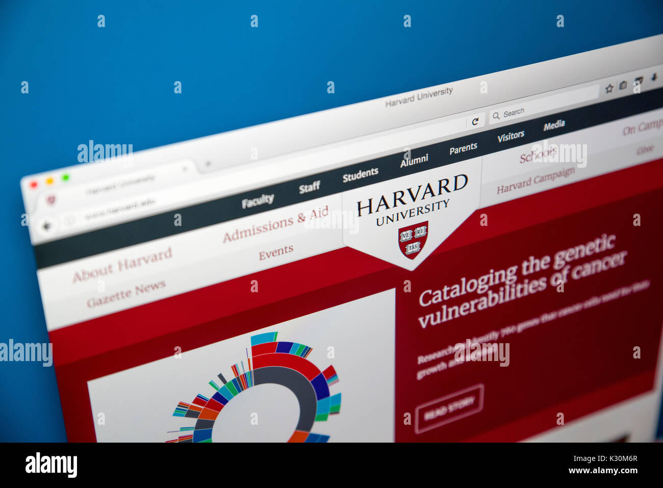 LONDON, UK - AUGUST 7TH 2017: The homepage of the official website for Harvard University - located in Massachusetts, Stock Photo