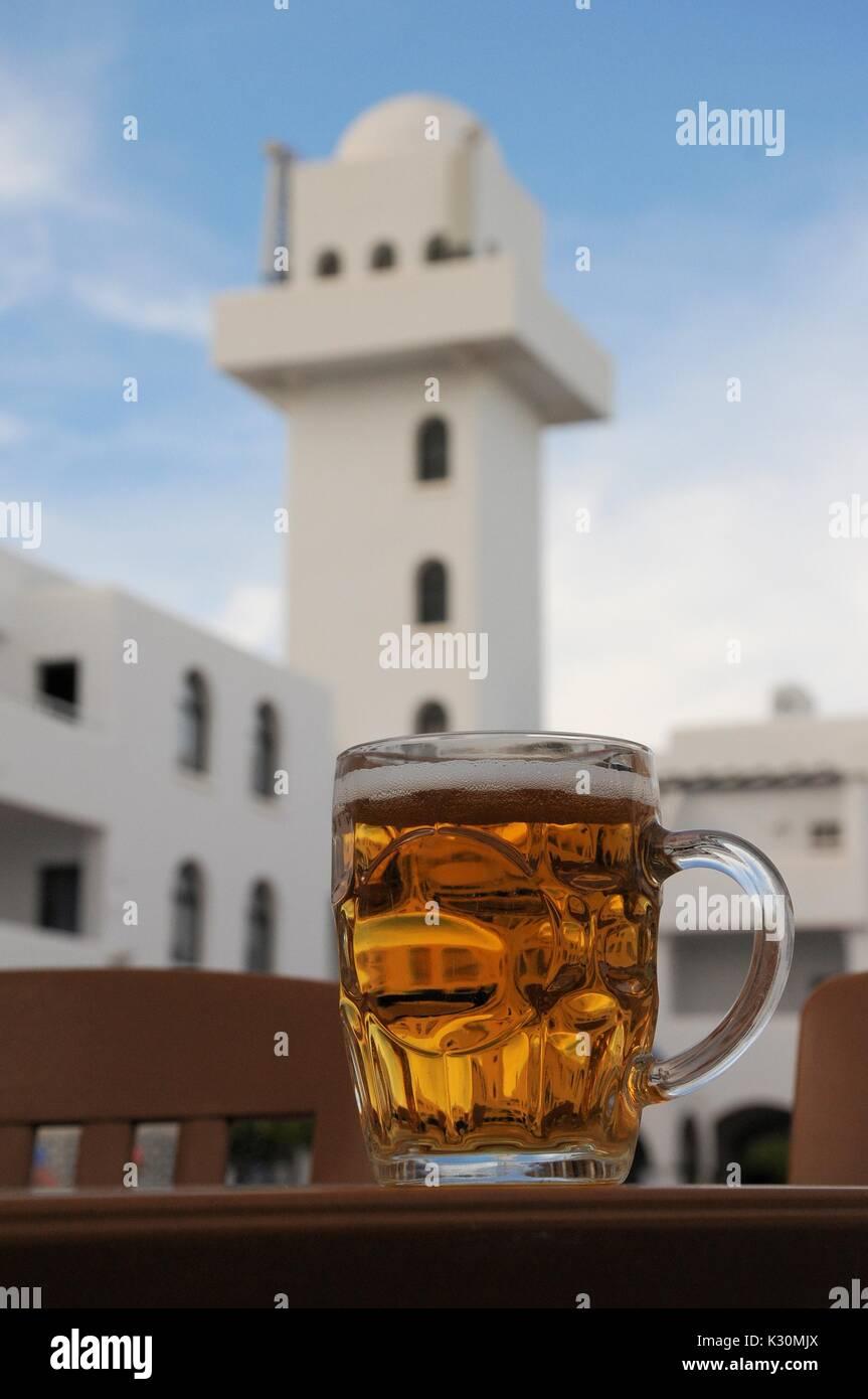 A pint of beer in Mojacar Pueblo, Almeria, Spain - Stock Image