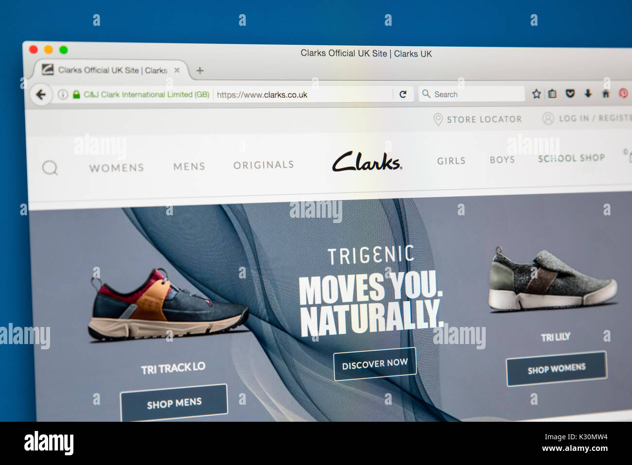 LONDON, UK - AUGUST 10TH 2017: The homepage of the official website for Clarks, the British-based shoe manufacturer Stock Photo