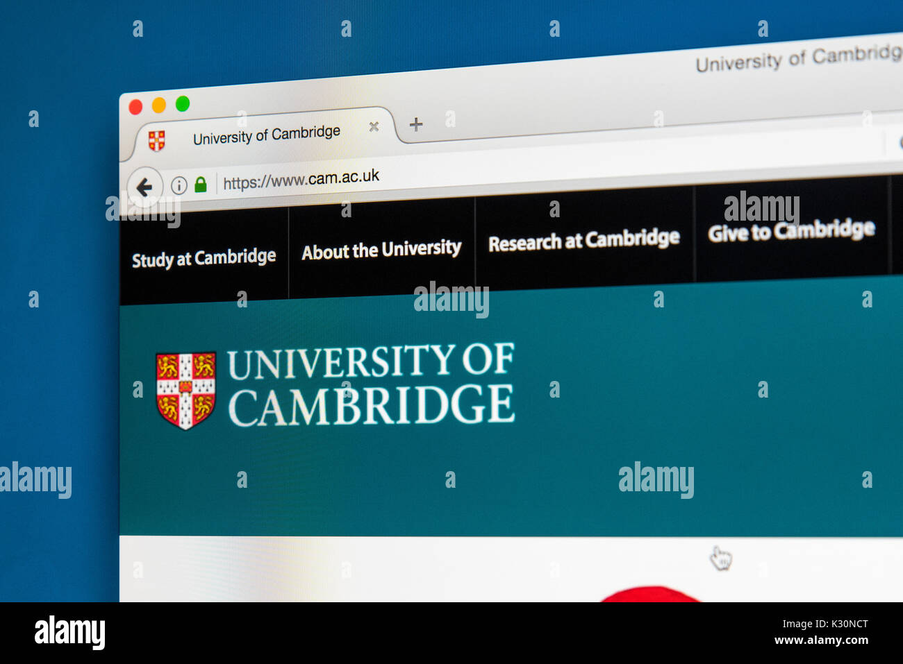 LONDON, UK - AUGUST 10TH 2017: The homepage of the official website for the University of Cambridge, on 10th August Stock Photo