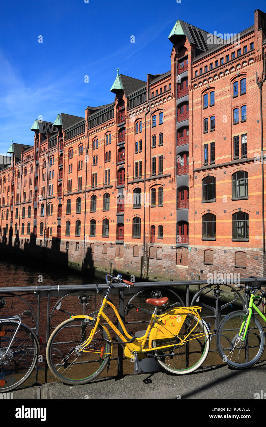 Old Warehouse district, Hamburg harbor, Germany, Europe - Stock Image