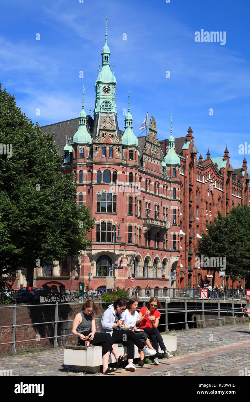 Old Warehouse district, Hamburg harbor, Germany, Europehouse - Stock Image