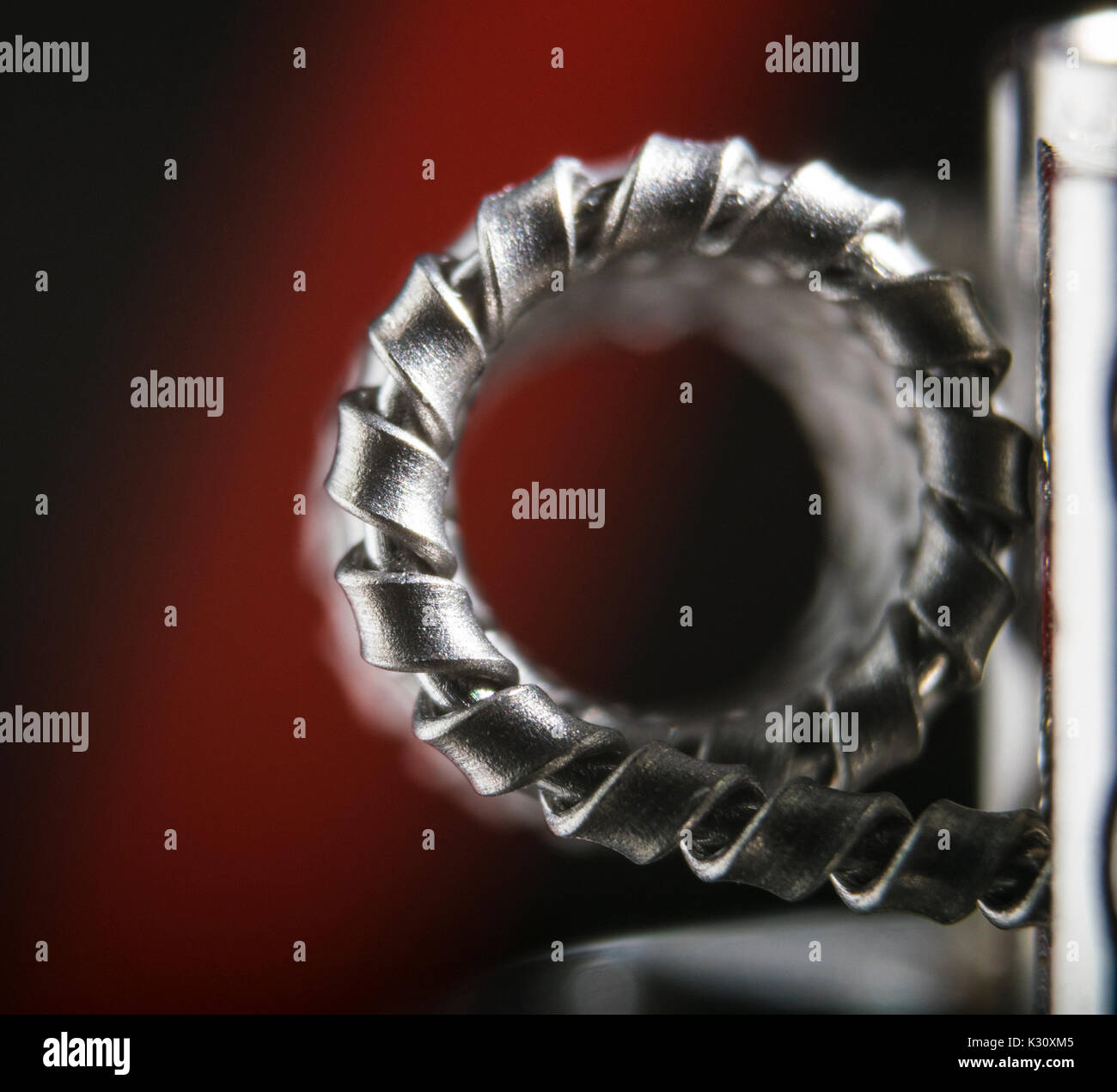 side veiw of a clapton vape coil for e-cigarette, e-cig. - Stock Image