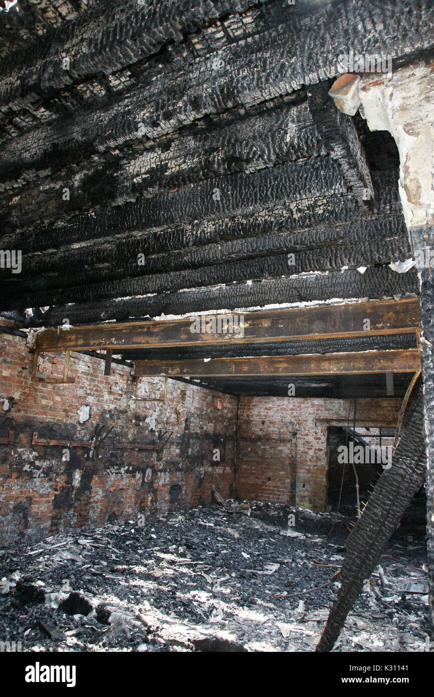 Fire damaged building structural unsafe - Stock Image
