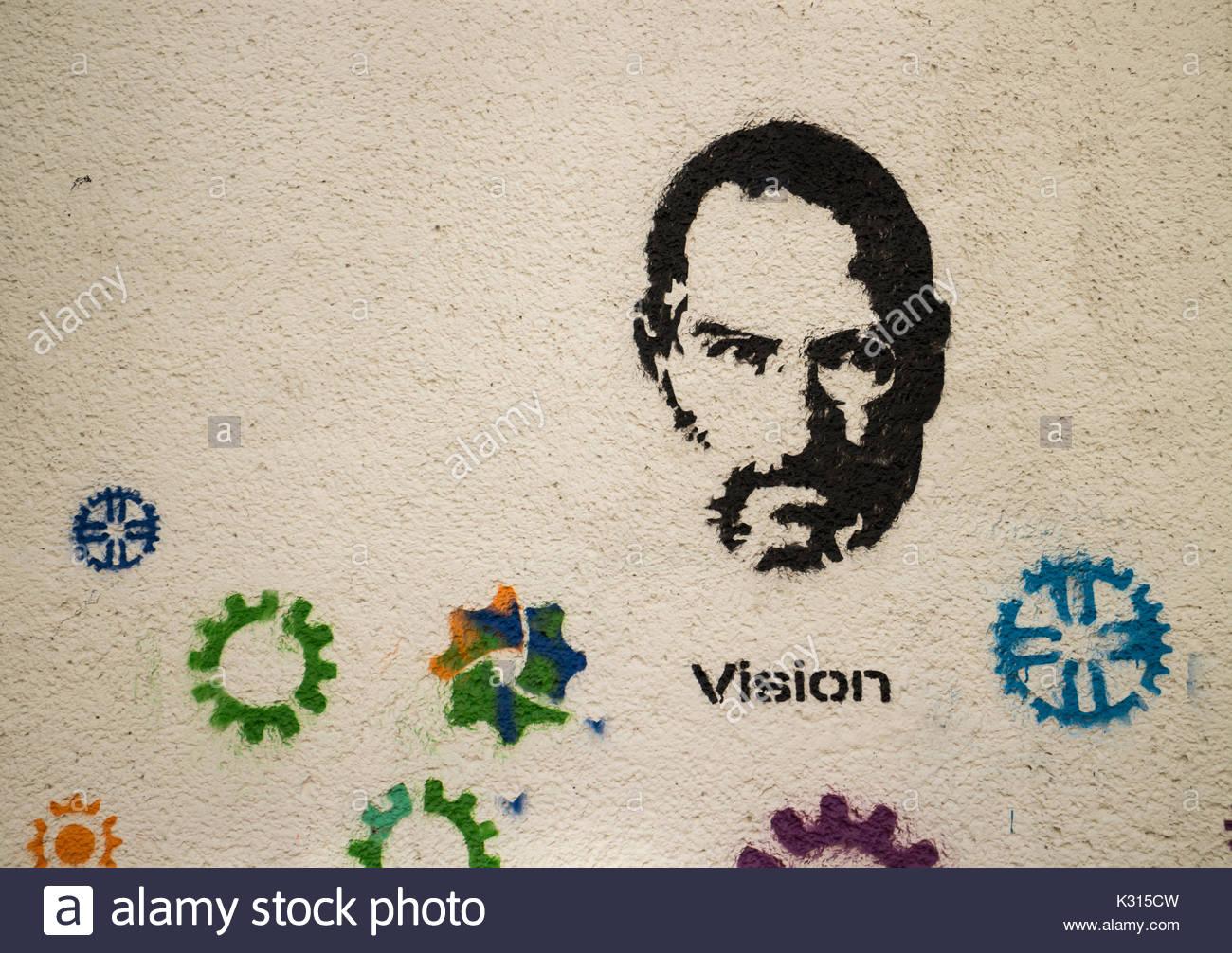 Steve Jobs graffiti on white wall, Vienna, Austria Aug 31, 2017 - Stock Image