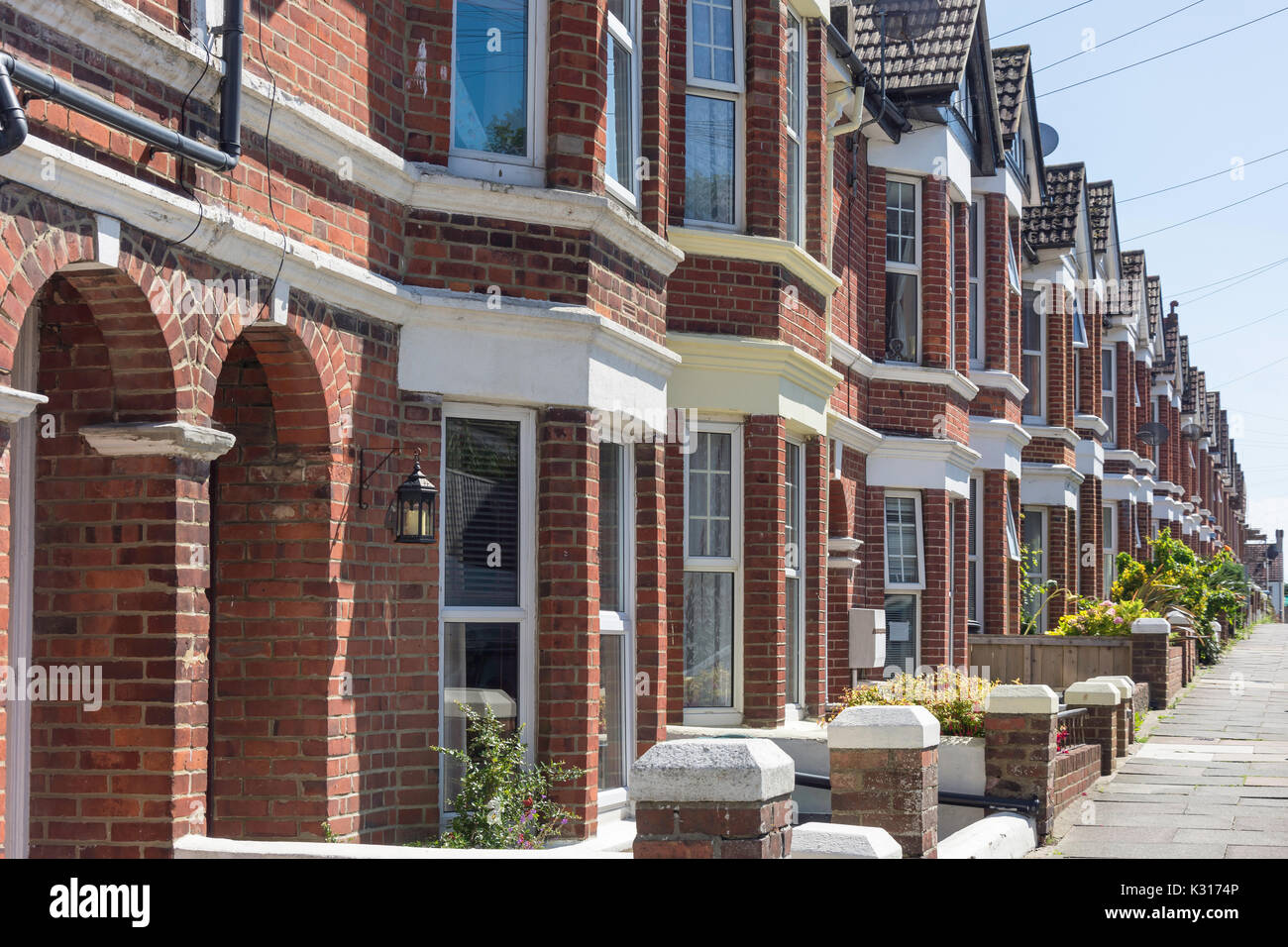 Terraced houses, Normand Road, Newhaven, East Sussex, England, United Kingdom - Stock Image