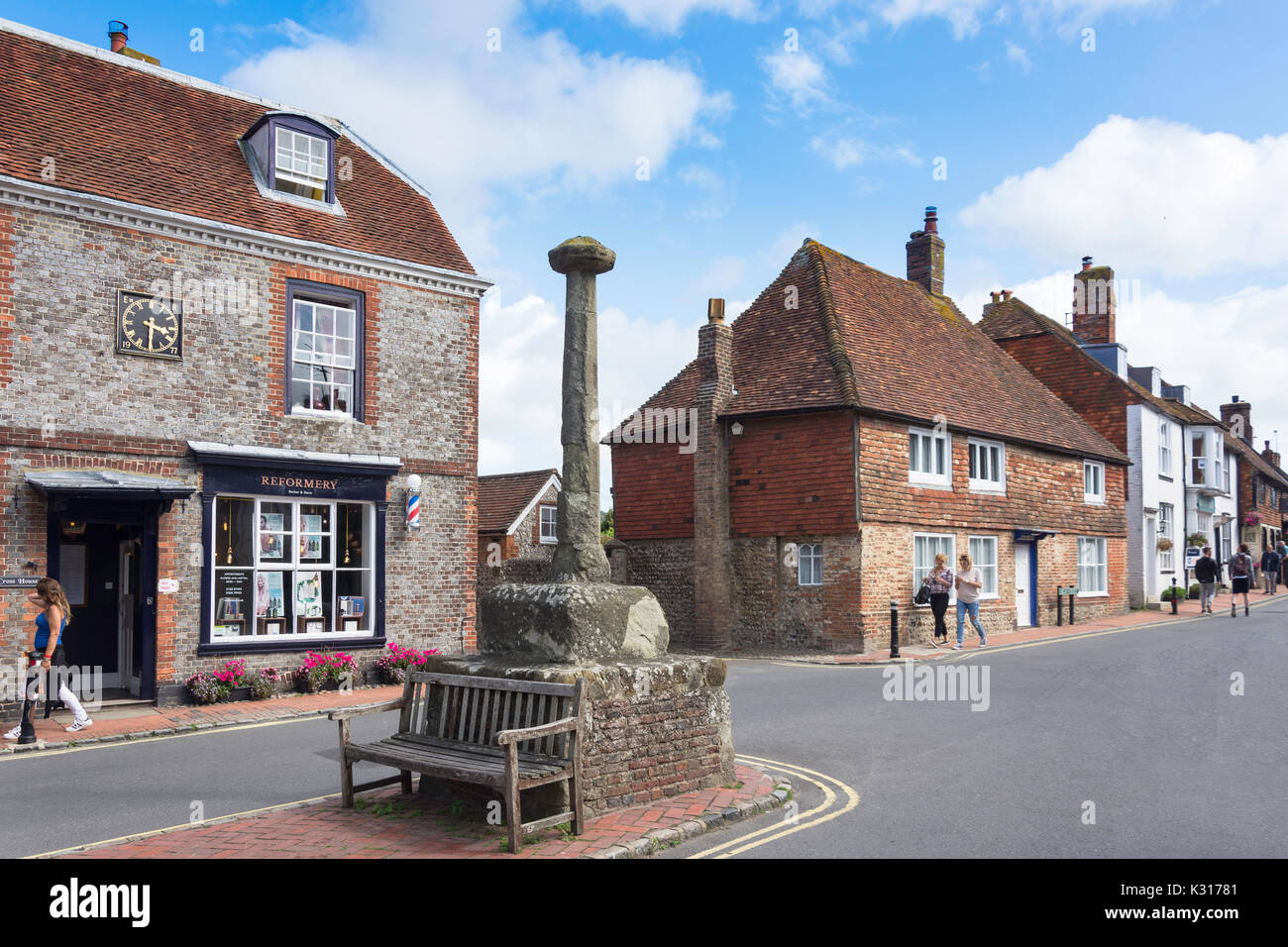 Medieval Market Cross in Market Square, High Street, Alfriston, East Sussex, England, United Kingdom - Stock Image