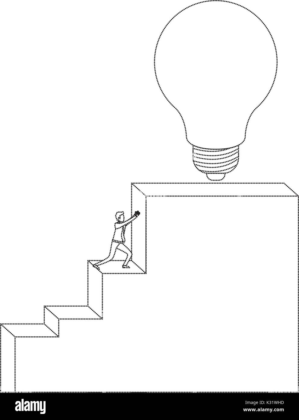 Businessman Pushing Stair Block Structure With Light Bulb In The Top  Monochrome Silhouette Dotted