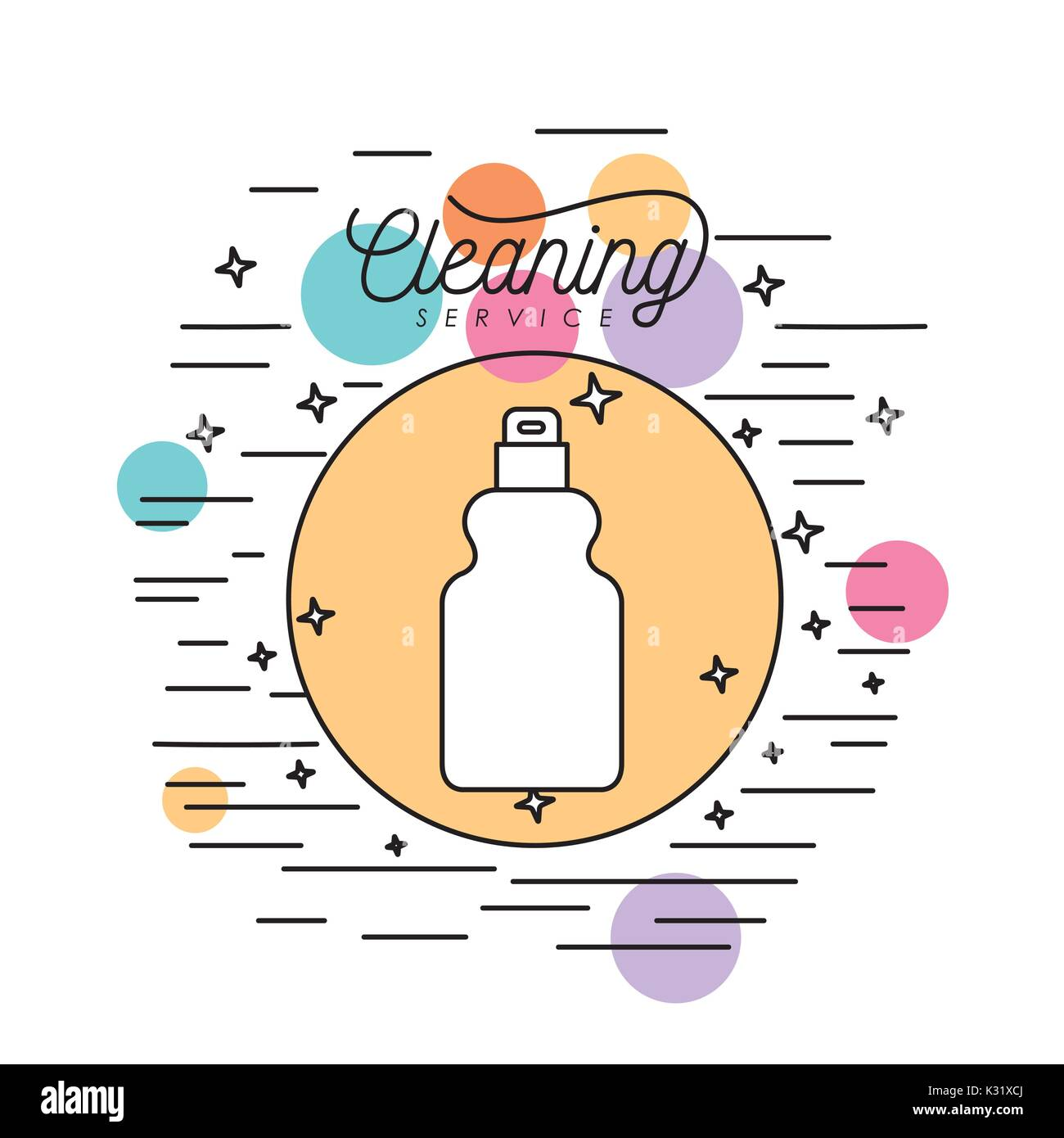 Spray Bottle Cleaning Service Silhouette In Circular Frame