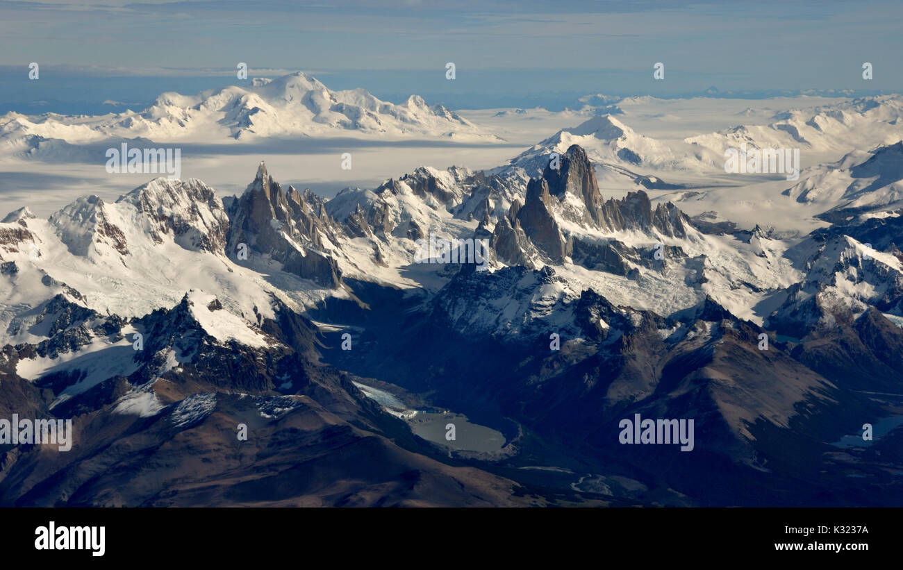 aerial view of mountains Fitz Roy, Cerro Torre, volcano Lautaro and the southern patagonian ice field - Stock Image