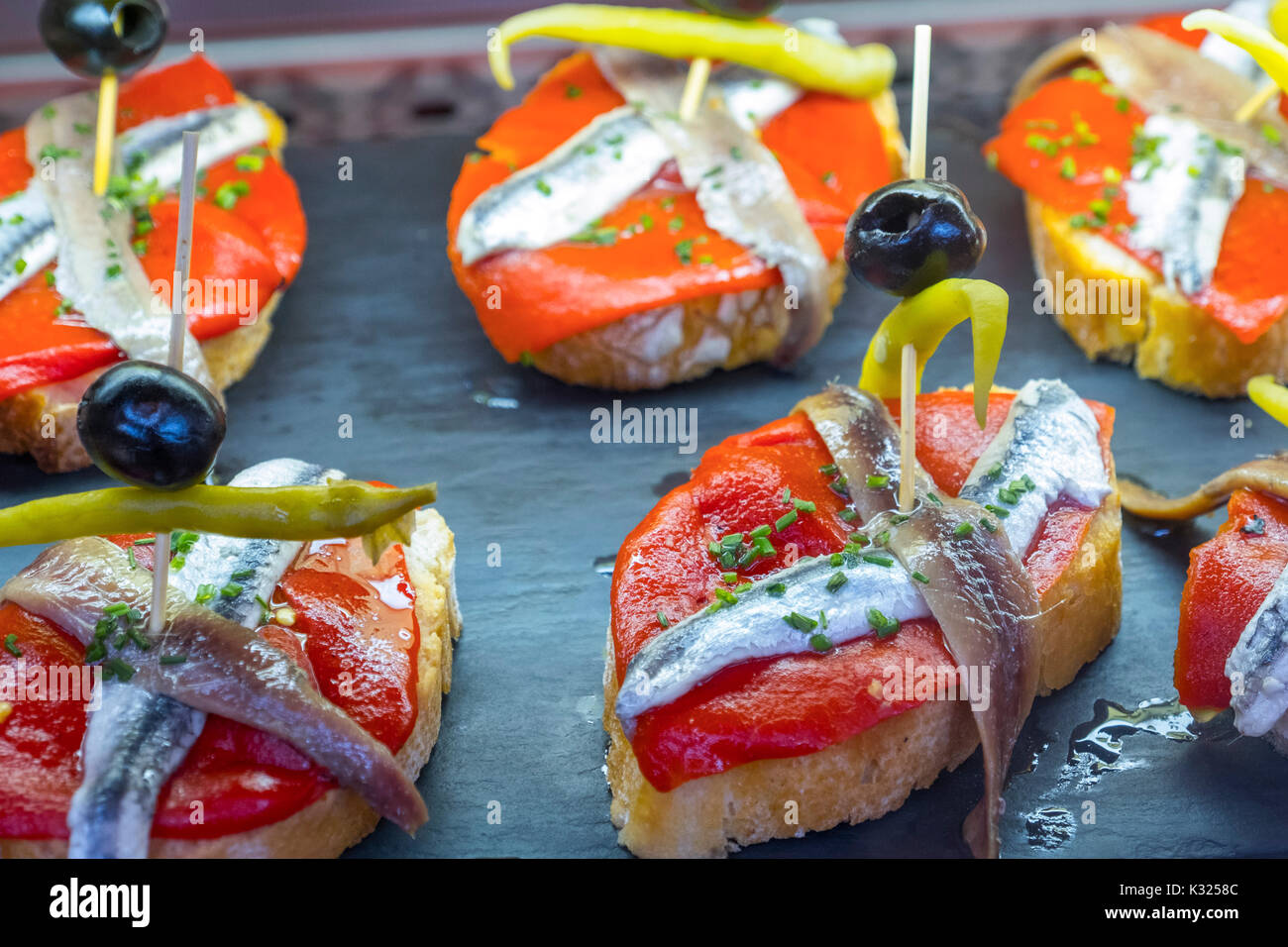 Pintxos at tapas bar. Santander, Cantabrian Sea, Cantabria, Spain, Europe - Stock Image