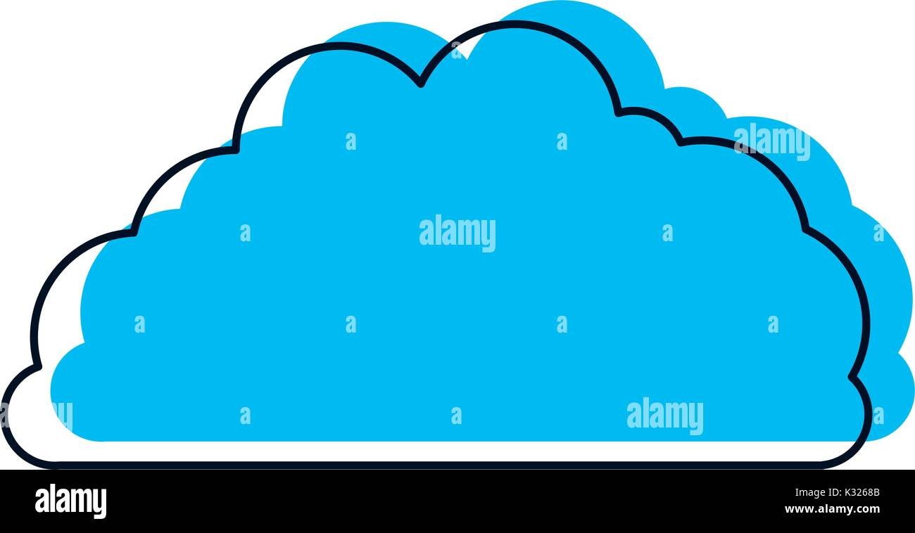 cloud fluffy blue watercolor silhouette - Stock Image