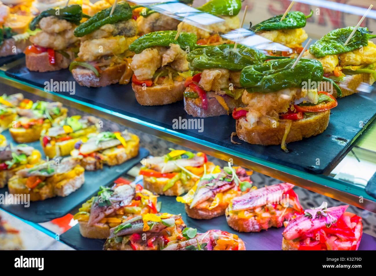 Pintxos at tapas bar. Santander, Cantabrian Sea, Cantabria, Spain, Europe - Stock Image