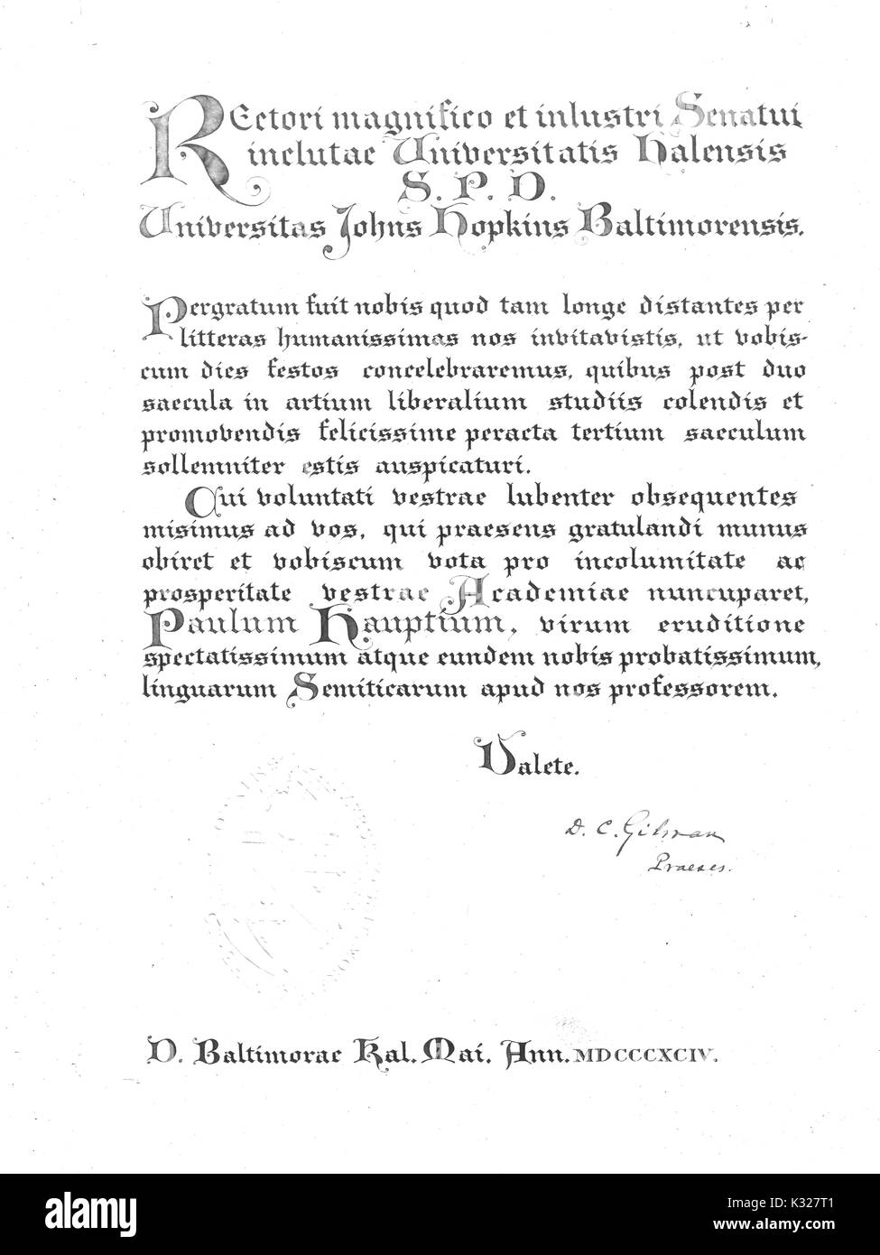 Document sent with Paul Haupt, Semitic scholar and professor at Johns Hopkins University, to the University of Halle, 1894. - Stock Image