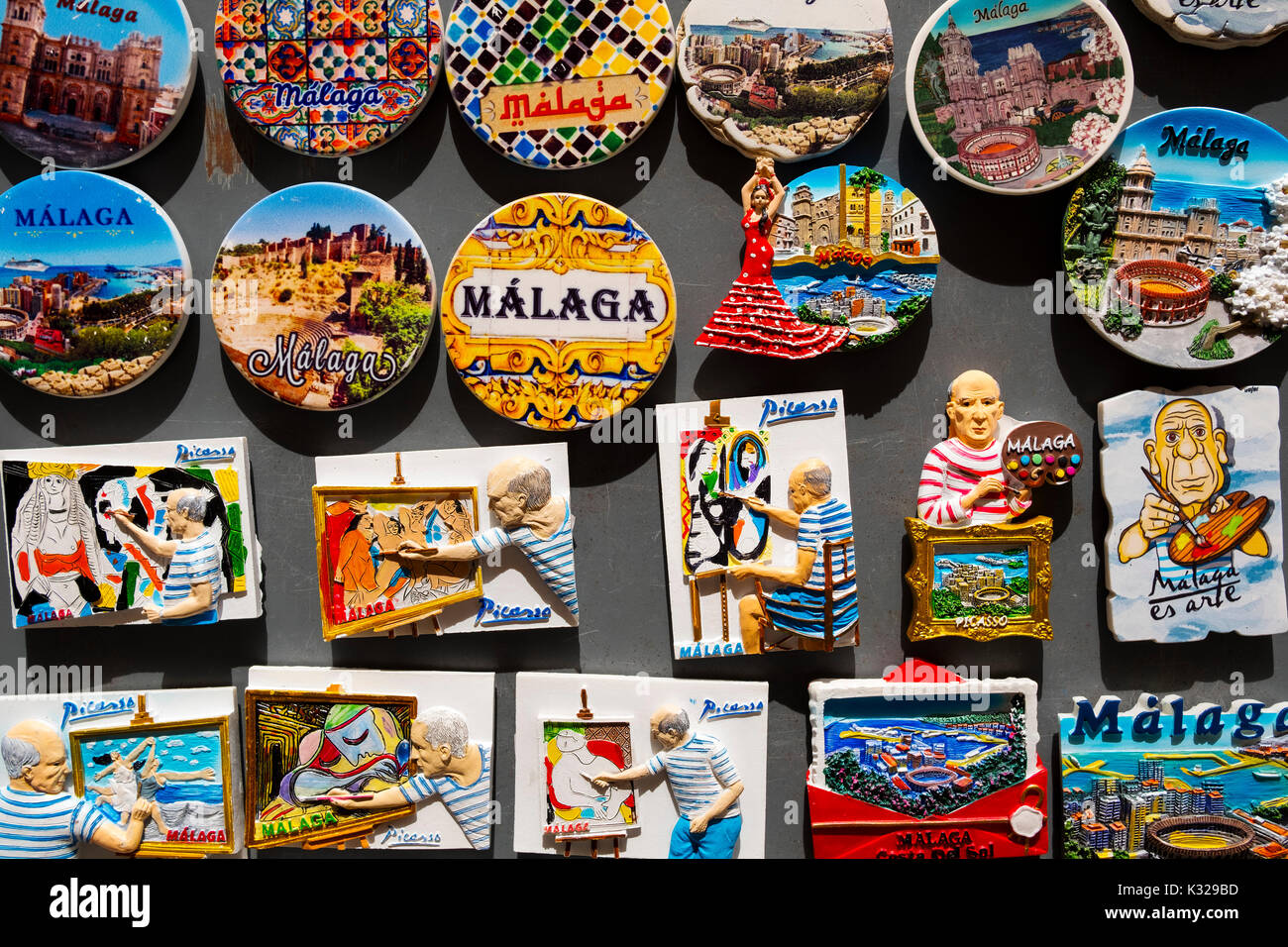 Souvenirs gift shop, Malaga city, Costa del Sol, Andalusia southern Spain, Europe - Stock Image