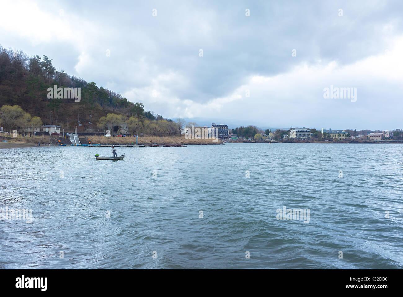 Landscape of Kawaguchi lake Stock Photo