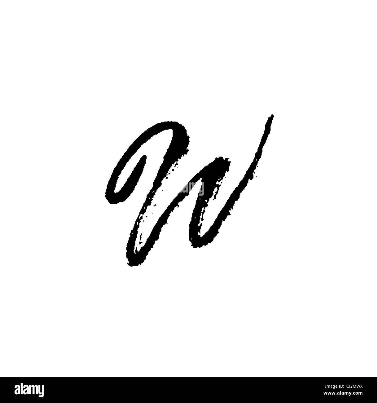 Letter W Handwritten By Dry Brush Rough Strokes Font Vector Illustration Grunge Style Elegant Alphabet