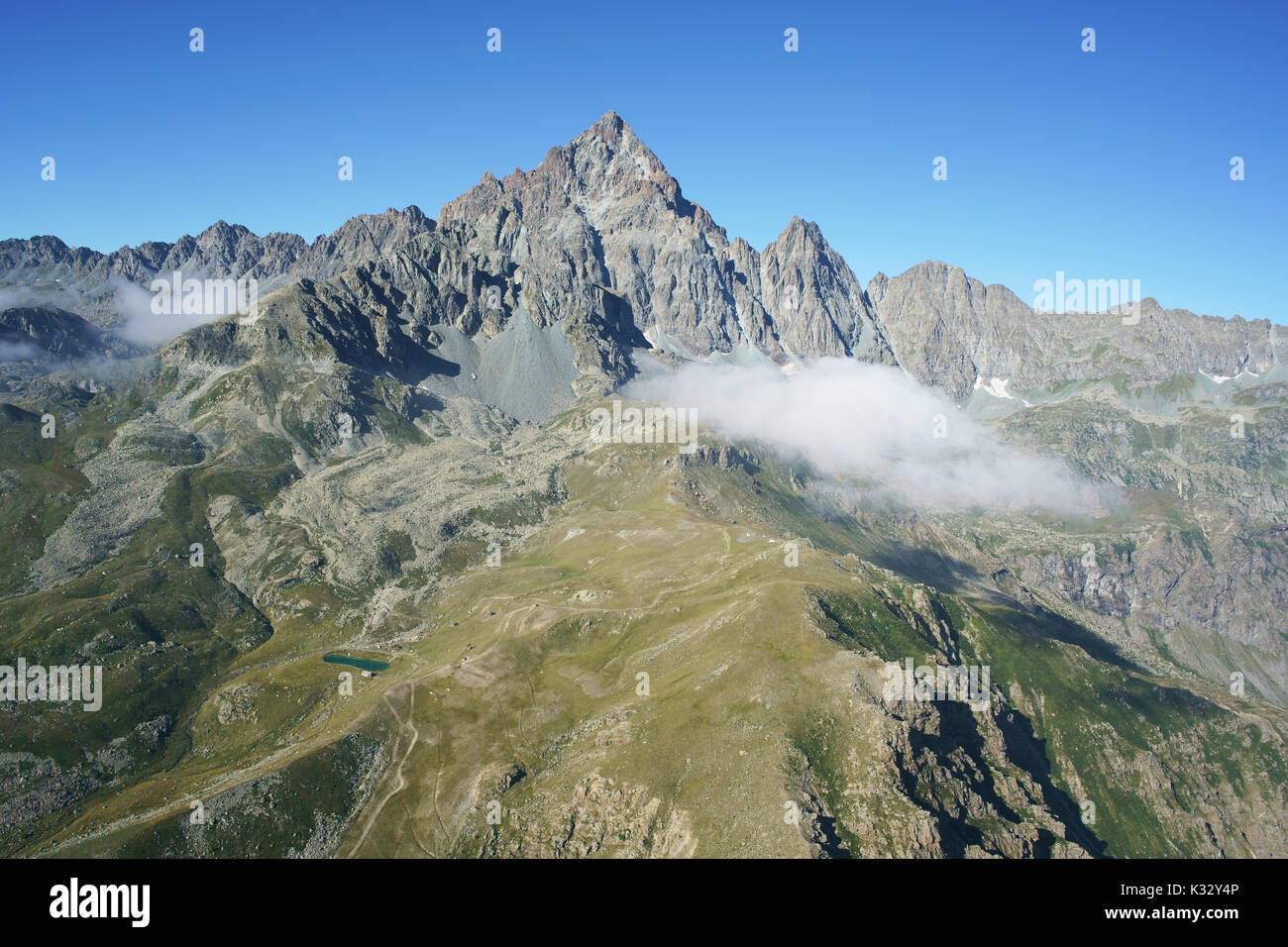 MONVISO (3841m amsl) (aerial view from the North East). Province of Cuneo, Piedmont, Italy. - Stock Image