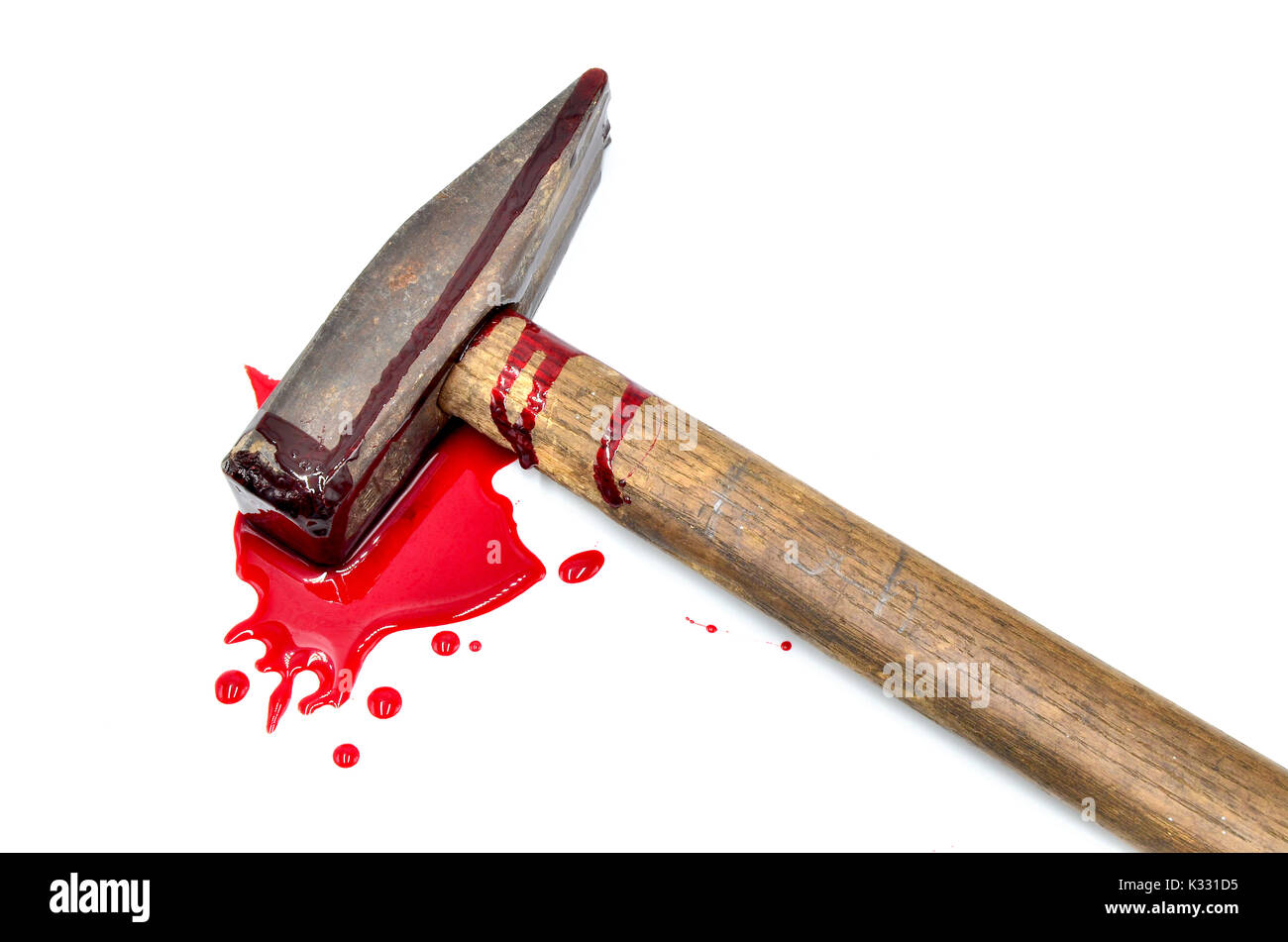 hammer with blood on white background - Stock Image