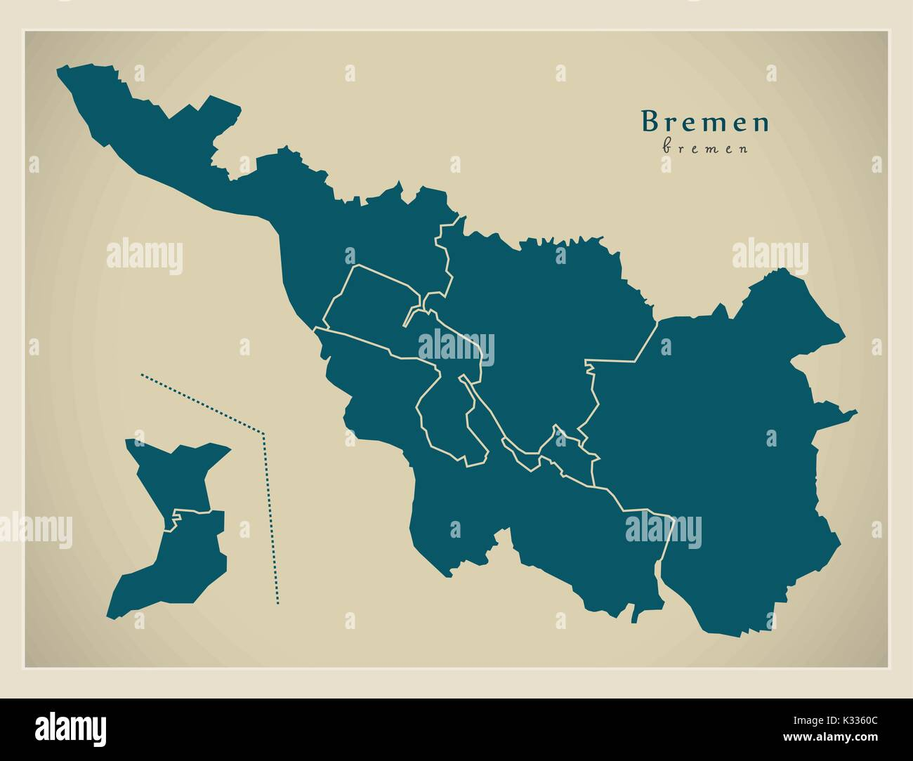 modern city map bremen city of germany with boroughs de stock image