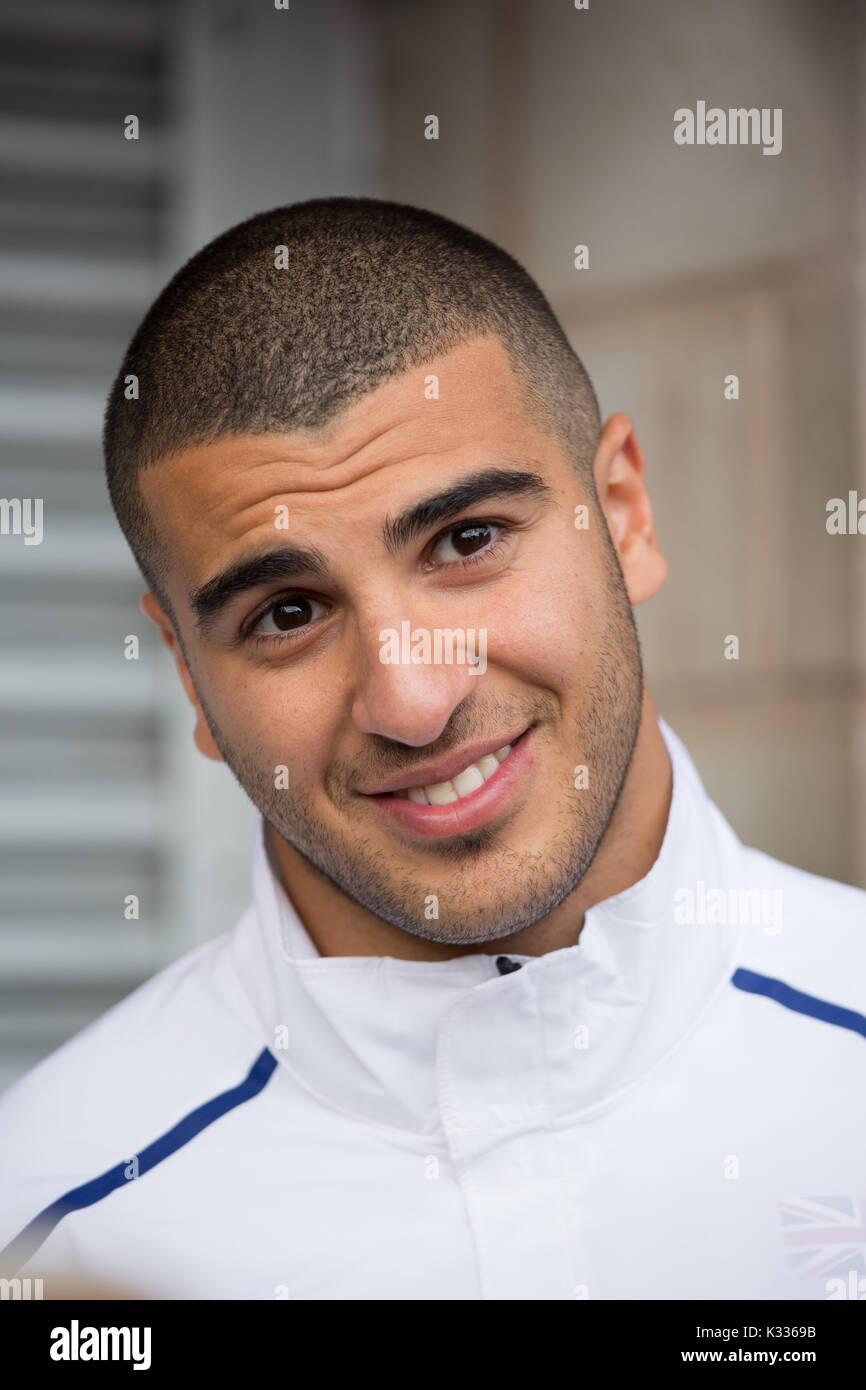 Adam Gemili, British sprinter pictured at Alexander Stadium, Birmingham.. He is the 2014 European champion at 200 metres - Stock Image