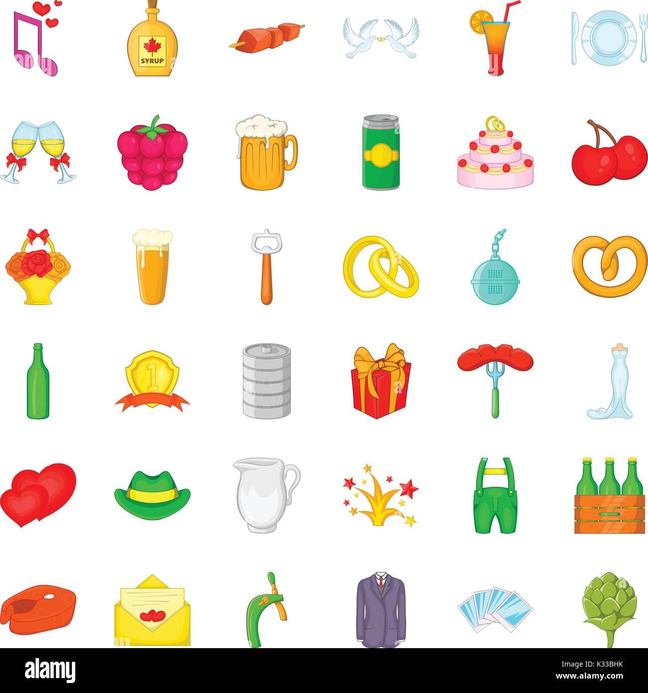 Wine icons set, cartoon style - Stock Vector