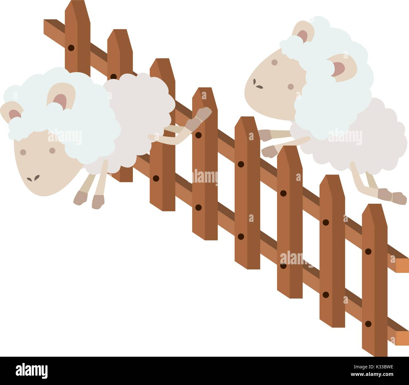 sheep animal couple jumping a wooden fence in colorful silhouette on white background - Stock Image