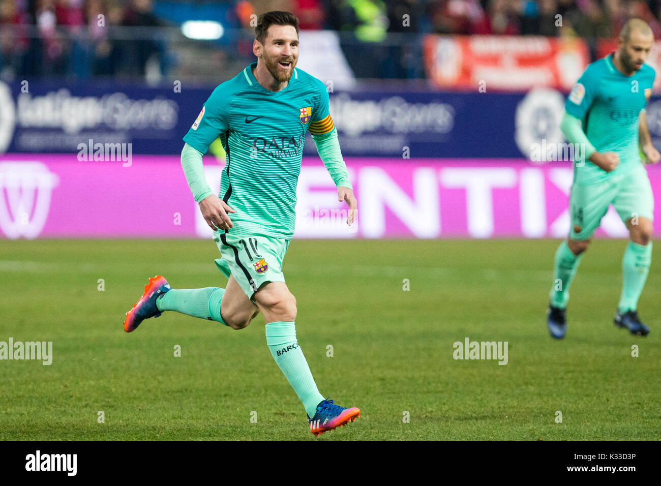 FC Barcelona's Leo Messi. The Argentine player is a soccer star in Spain and the world. Considered the best of all Stock Photo