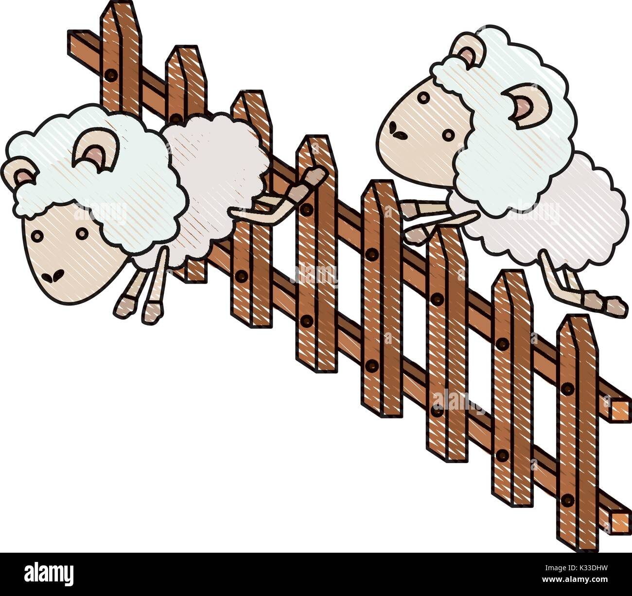 sheep animal couple jumping a wooden fence in color crayon silhouette on white background - Stock Vector