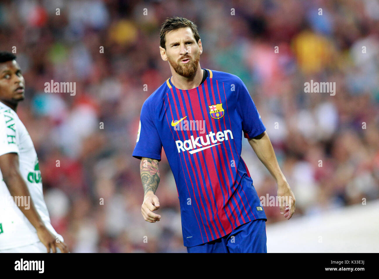 FC Barcelona Leo Messi. The Argentine player is a soccer star in Spain and the world. Considered the best of all time, along with Pele and Maradona - Stock Image