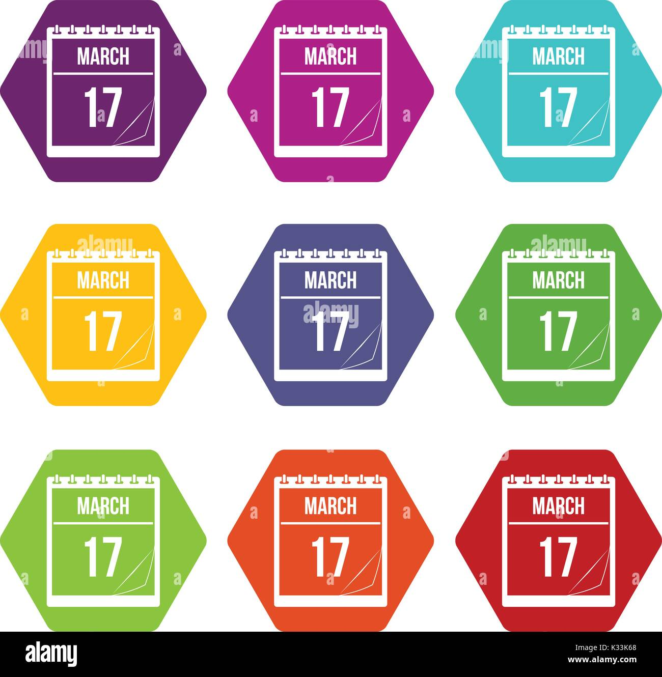 Calendar with date of March 17 icon set color hexahedron Stock Vector