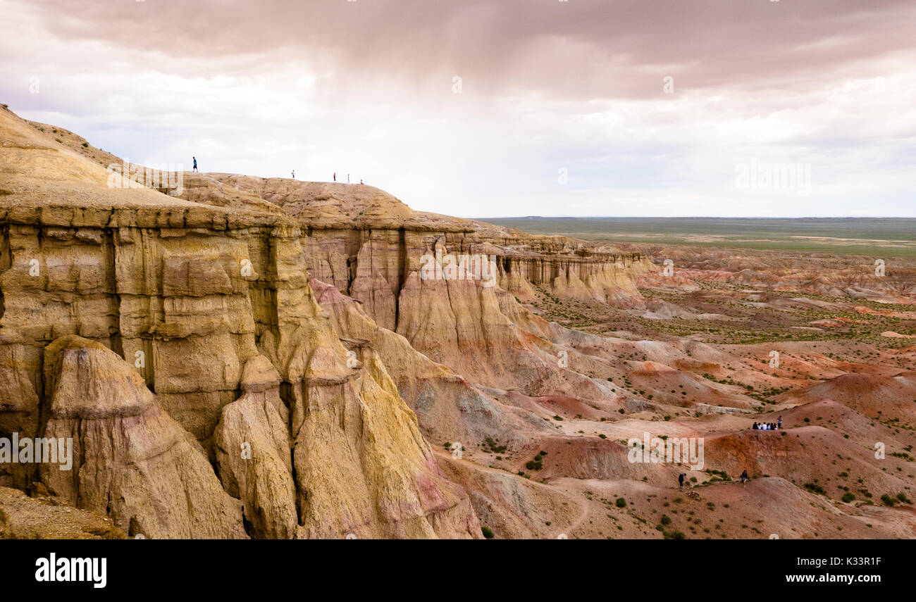 Landscape with canyon in Mongolia desert of Gobi - Stock Image