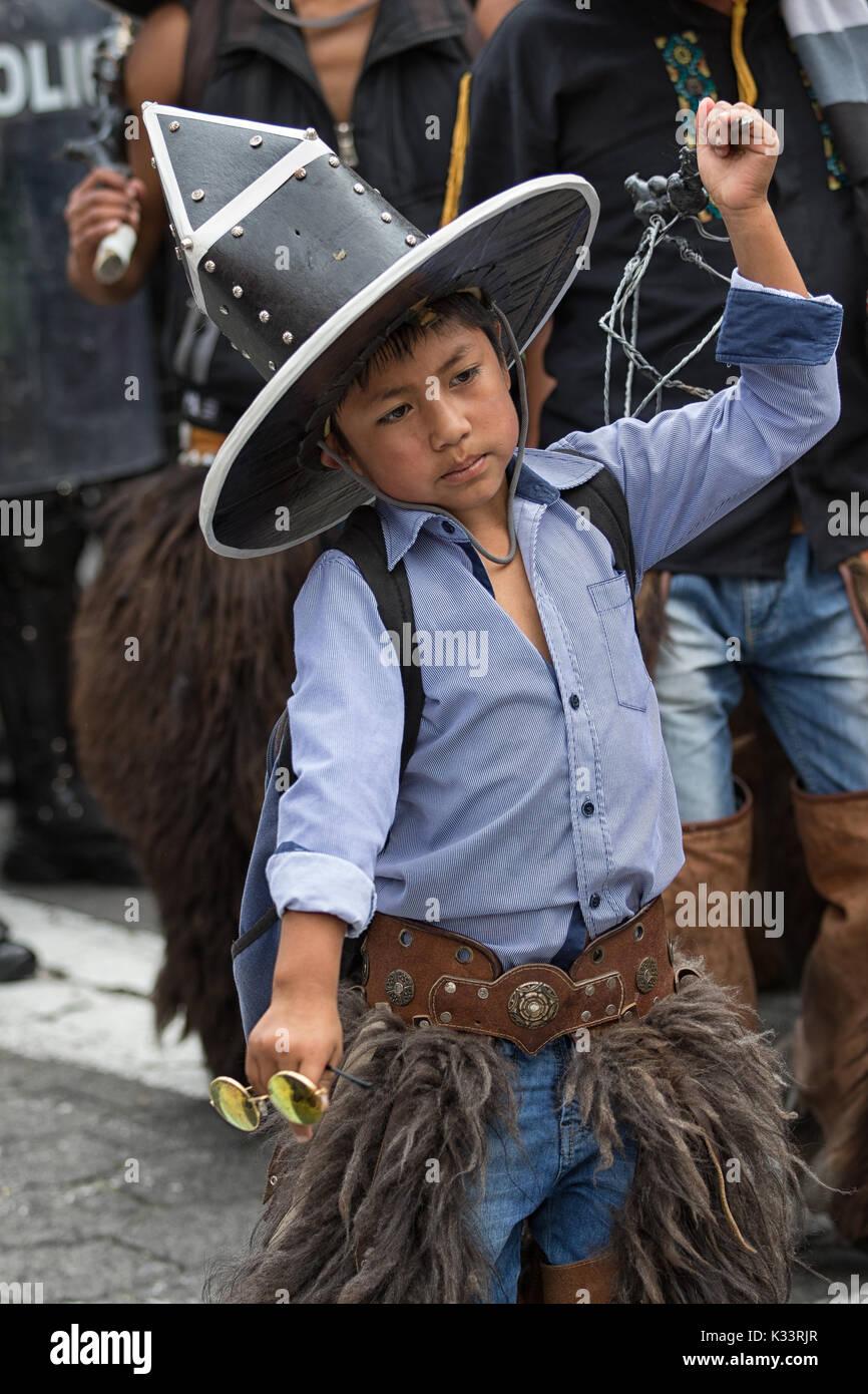 June 24, 2017 Cotacachi, Ecuador:closeup of an indigenous quechua young boy participating at the Inti Raymi parade - Stock Image
