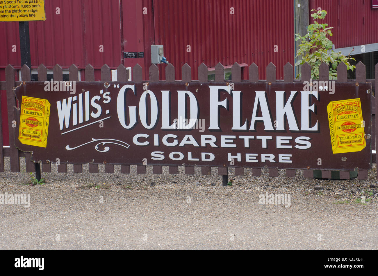 Norfolk  United Kingdom   August  21 2017: Classic Goldflake cigarette advertising sign - Stock Image