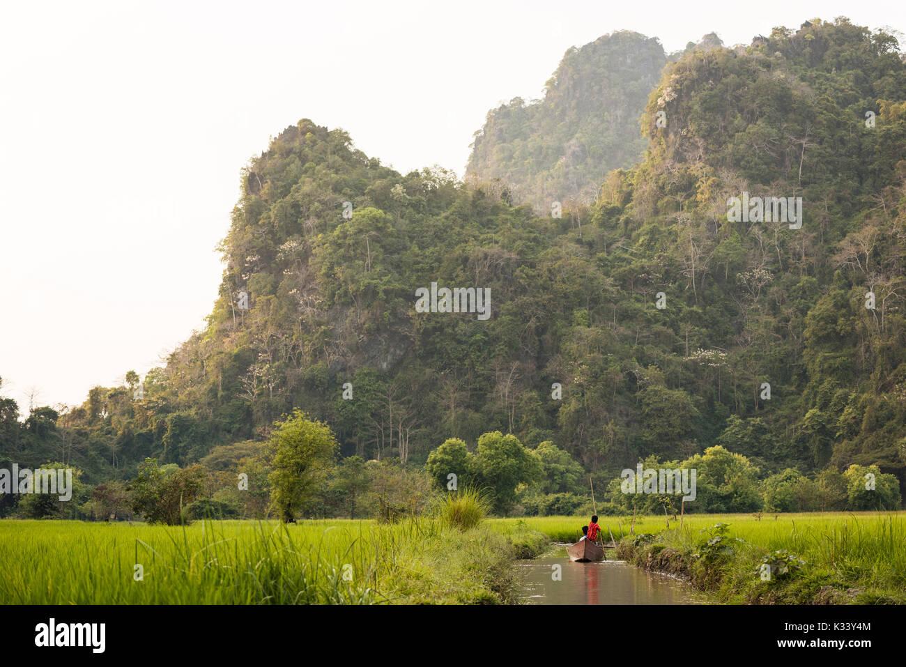 Landscape near Sa-dan Cave, Hpa-an, Kayin State. Myanmar, Asia Stock Photo