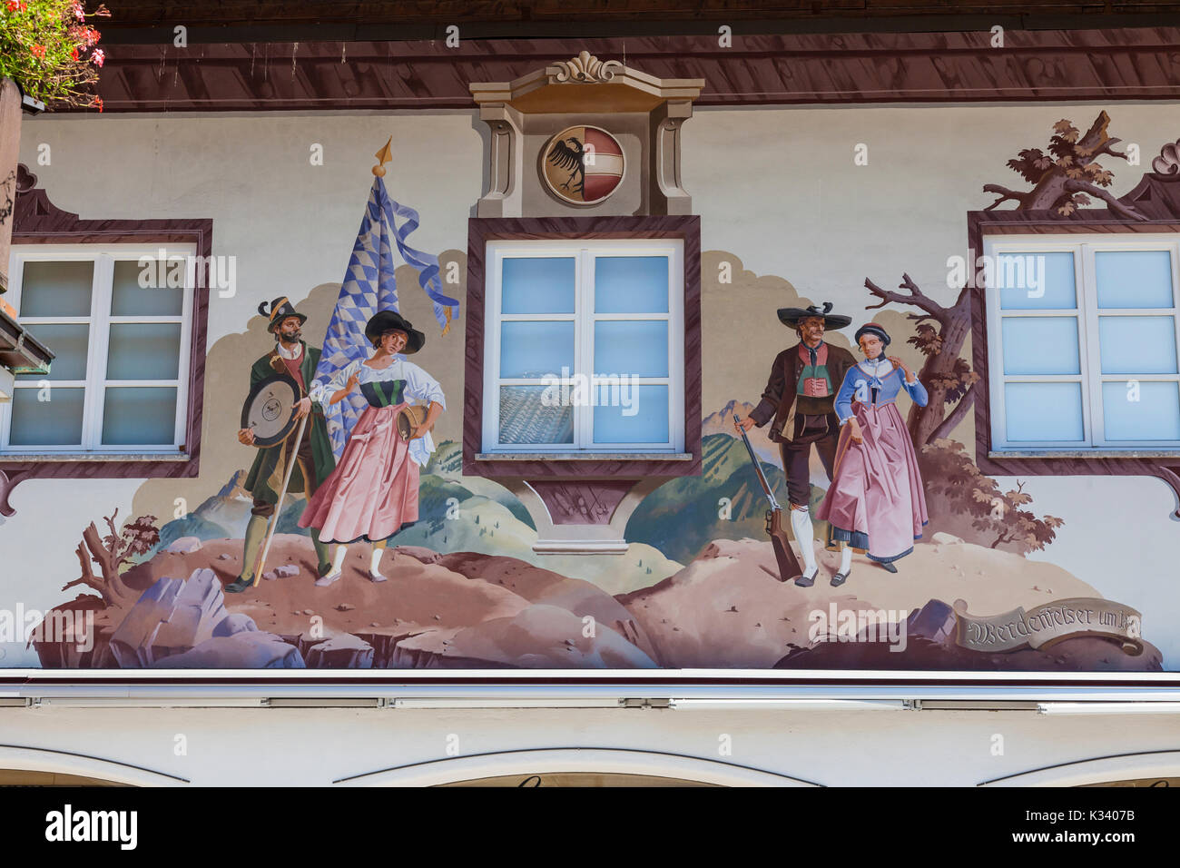 Paintings and frescoes decorate the typical houses Garmisch Partenkirchen Oberbayern region Bavaria Germany Europe - Stock Image