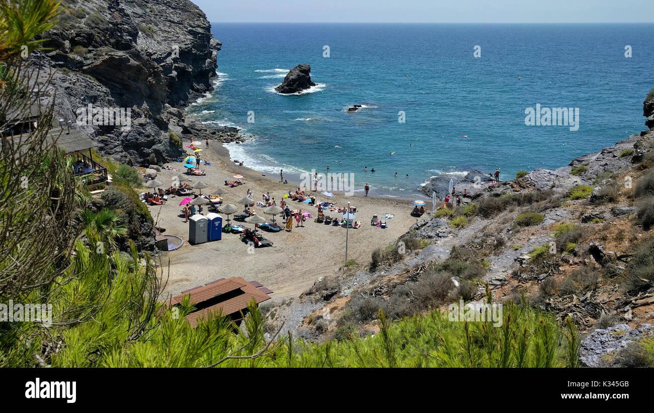 Picturesque Cala del Barco beach. Cartagena, Costa Blanca. Spain Stock Photo