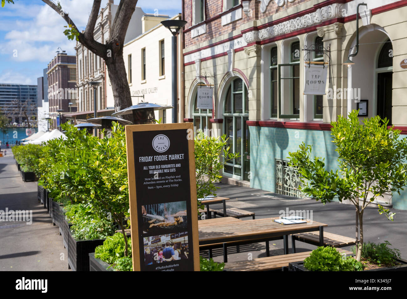 Sign for Friday foodie markets in Argyle street The Rocks historic area of Sydney city centre,New South Wales,Australia - Stock Image