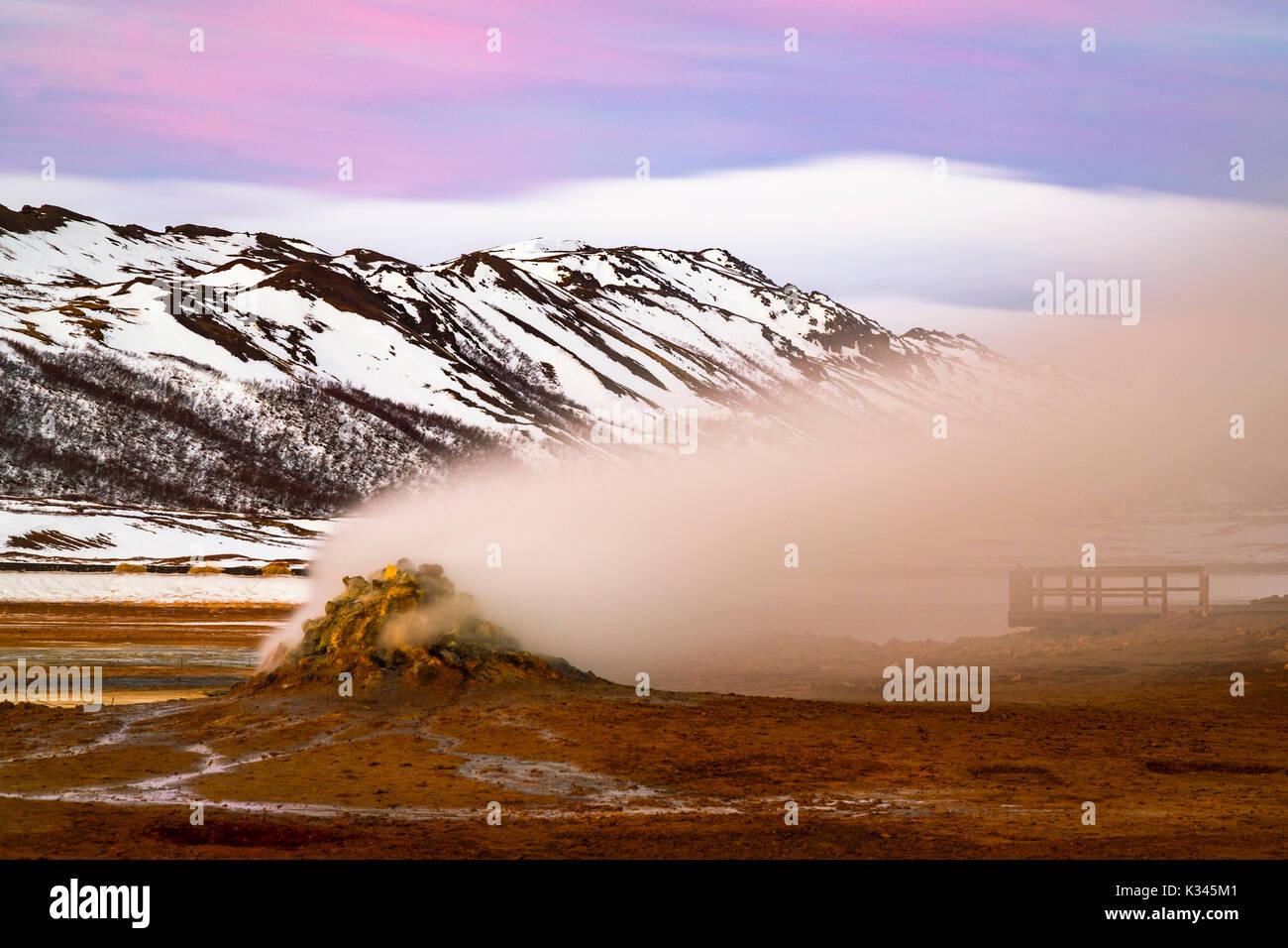 Steaming Fumaroles At Hverarönd, Near Myvatn, Iceland - Stock Image