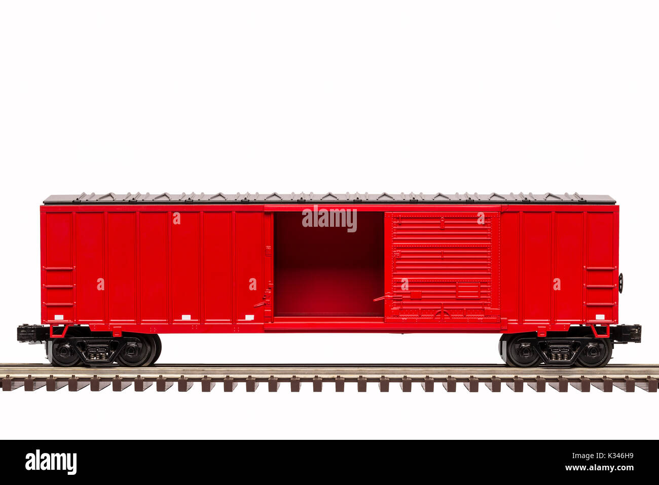 Red Railroad Box Car with Open Door - Stock Image