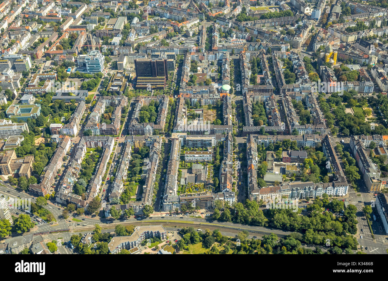 Residential district near Kennedydamm, block building, apartment buildings, rental housing, Kaiserswertherstrasse, Stock Photo