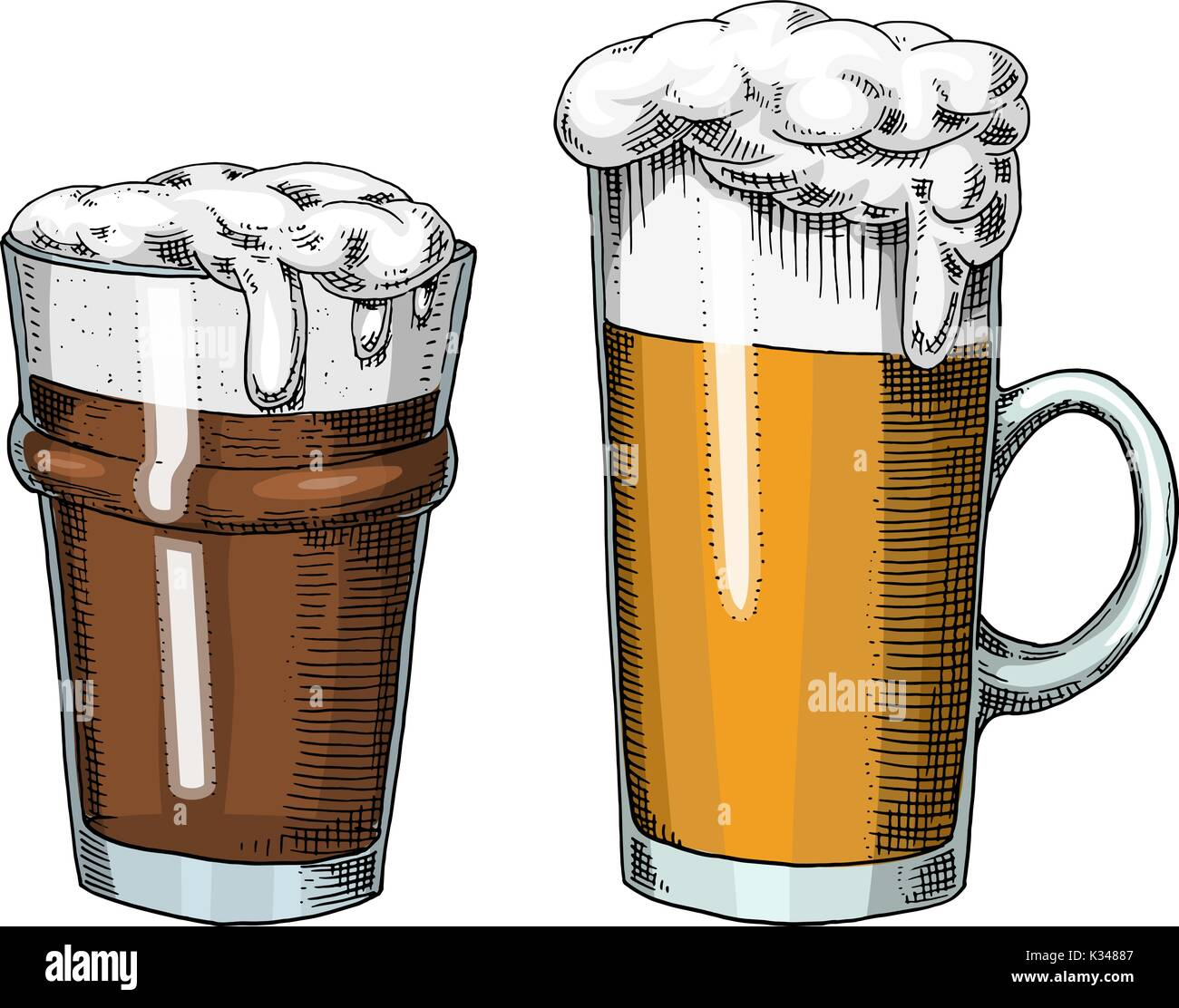 Beer glass, mug or bottle of oktoberfest. engraved in ink