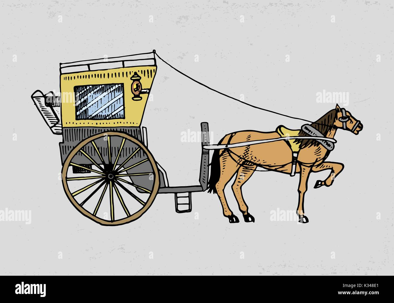 Horse Drawn Carriage Or Coach Travel Illustration Engraved Hand Stock Vector Image Art Alamy