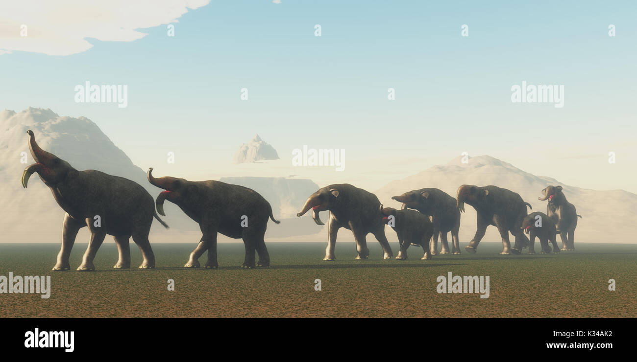 Deinotherium Herd - A herd of Deinotherium mammals head to a watering hole in the Pleistocene Period of Africa. - Stock Image