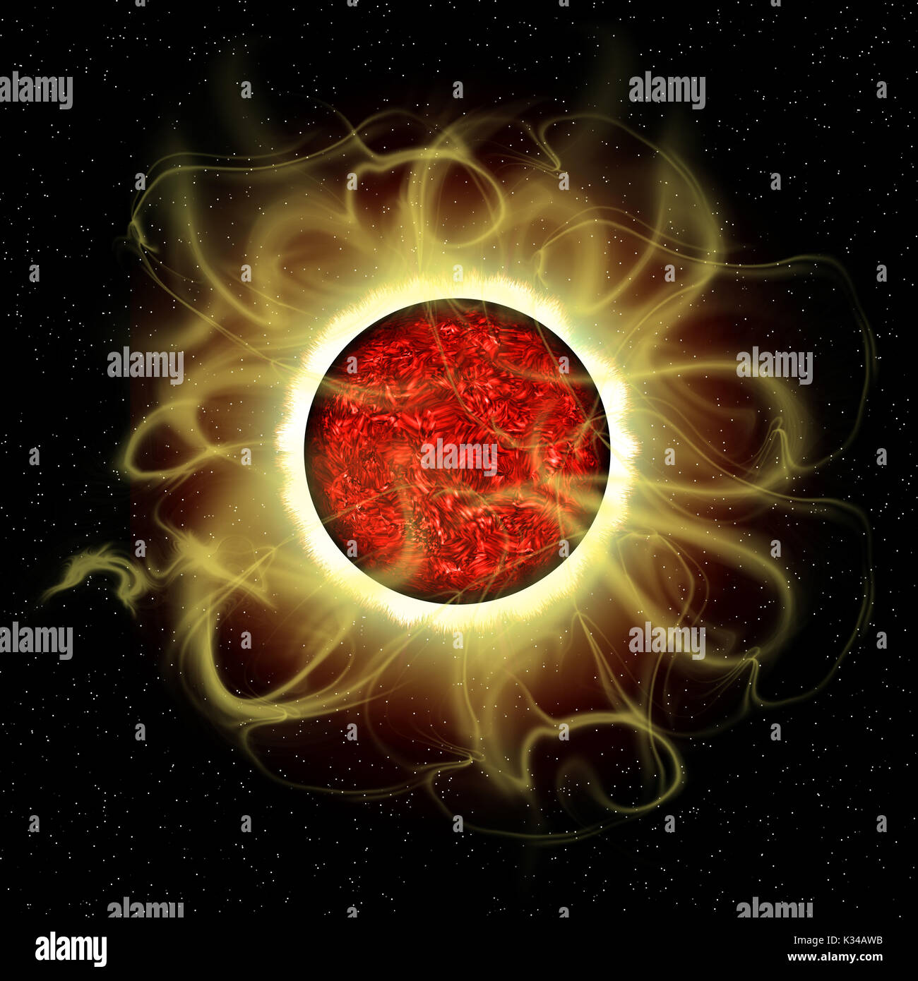 The sun is a molten composite of metals and gases and every 11 years there is a cycle of solar flare activity caused from disruption of magnetic field - Stock Image