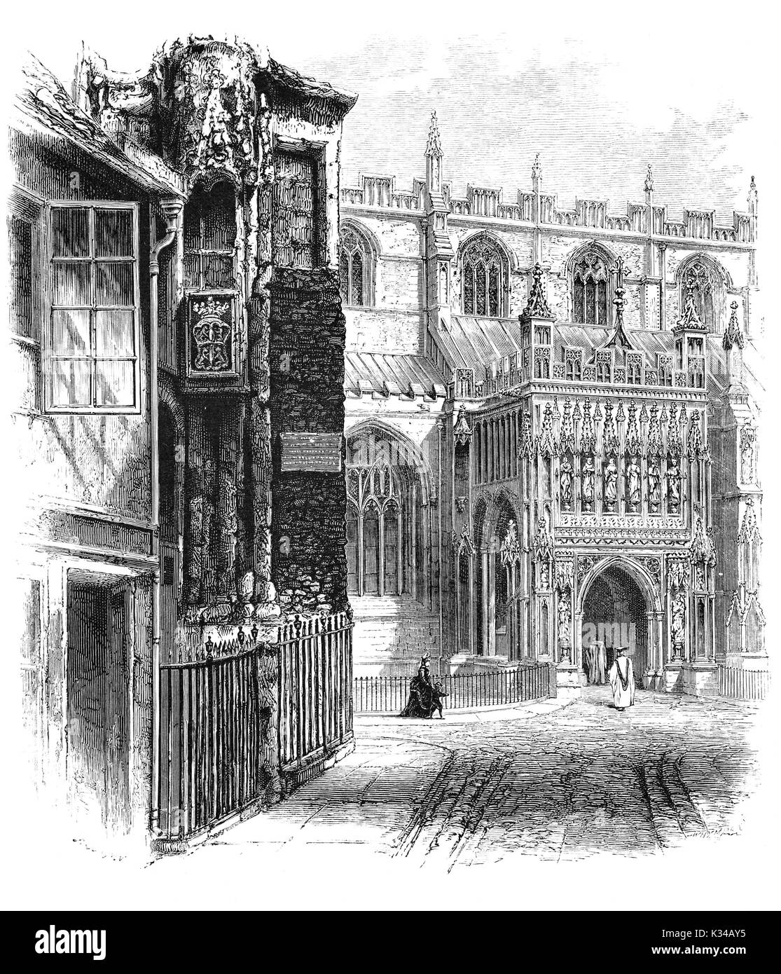 1870: Churchgoers entering the South Porch of Gloucester Cathedral, formally the Cathedral Church of St Peter and the Holy and Indivisible Trinity, in Gloucester, England, stands in the north of the city near the River Severn. It originated in 678 or 679 with the foundation of an abbey dedicated to Saint Peter and later dissolved by King Henry VIII. The Porch is in the Perpendicular style of Decorated Gothic. Gloucestershire, England - Stock Image