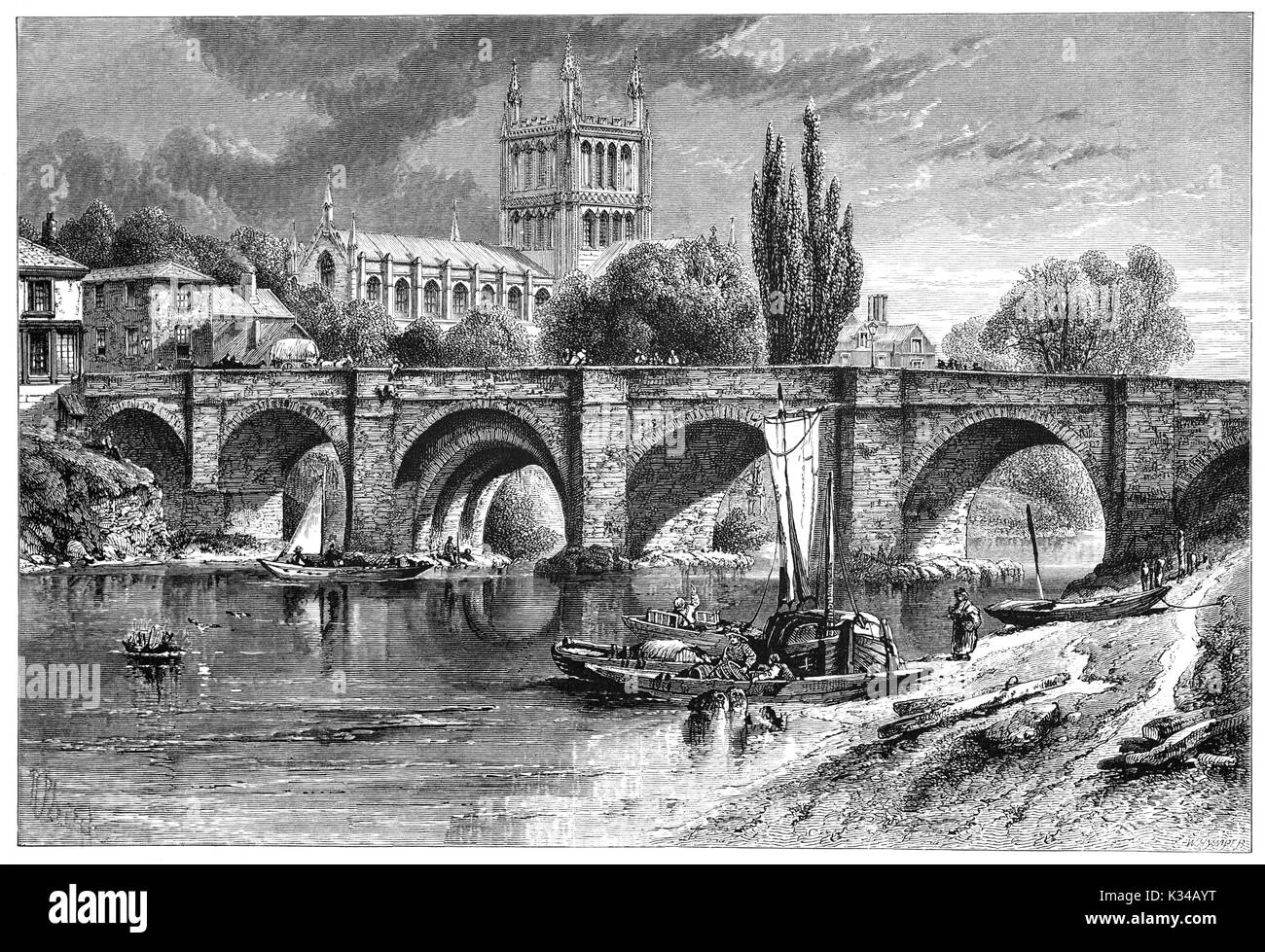 1870: River activities on the River Wye below the Wye Bridge with Hereford Cathedral beyond. It dates from 1079 and its most famous treasure is Mappa Mundi, a mediaeval map of the world dating from the 13th century. Herefordshire, England. - Stock Image