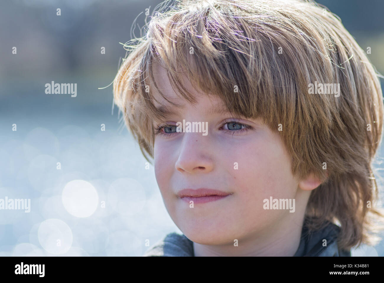 Portrait of a boy with blurred background - Stock Image